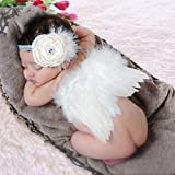 GeMoor Newborn Photography Props Baby Girl Angel Wings and Headbands Photo Props Outfits , 3 Pack (Color: white, Tamaño: small)