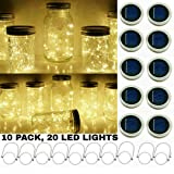 Upgraded Solar Mason Jar String Light Lids, 10 Pack 20 LED Fairy Firefly String Light Inserts with 10 Hangers Starry Lighting, Waterproof and Rust Resist for Patio Lawn Garden Wedding (Warm White) (Color: Warm White)