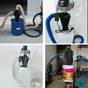 Cyclone Dust Collector Dust Collection Dust Separator Shop Vac Accessories (Color: Black)