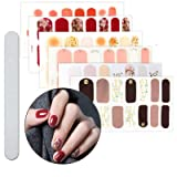 6 Sheets Full Nail Wraps Art Polish Stickers Decal Strips Adhesive False Nail Design Manicure Set With 1Pc Nail Buffers FilesFor Women Girls (Color: 22Y)