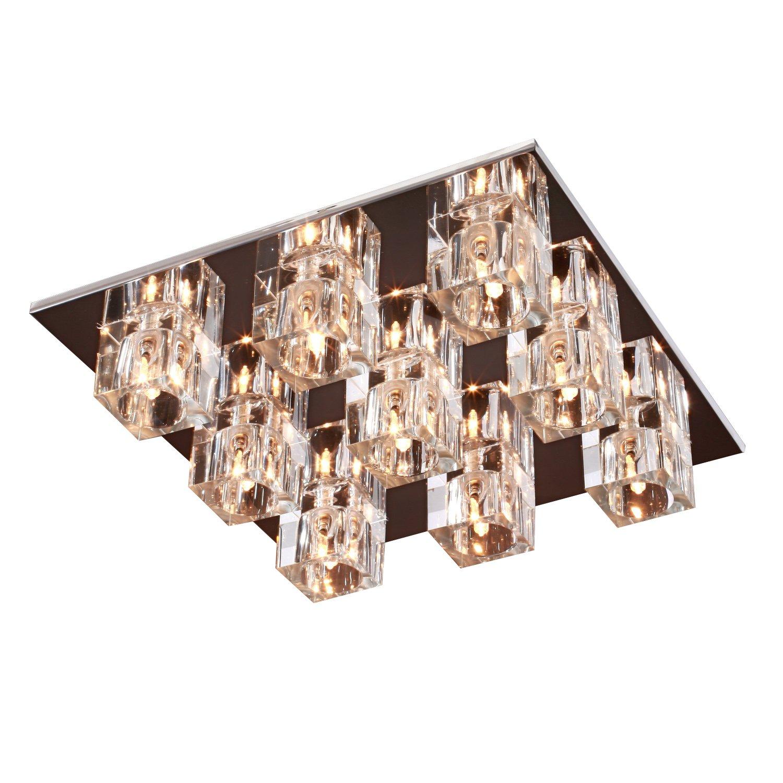 OUKU ATTENDORN - Zeitgenössisch Lüster aus Kristall mit 9 Glühbirnen Unterputz