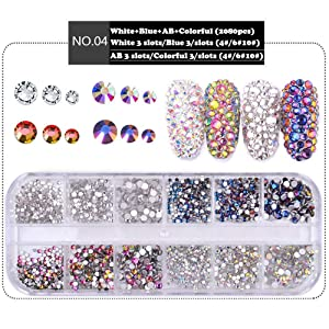 DAODER 2080pcs 3D Nail Art Rhinestones Kit Sparkly AB Crystal Rhinestones and Charms for Nails Decoration Flat back Gems Stones Decor Face Rhinestones Nail Jewels Crafts DIY (Color: AB Rhinestones, White, Blue Flame, Colorful Flame)