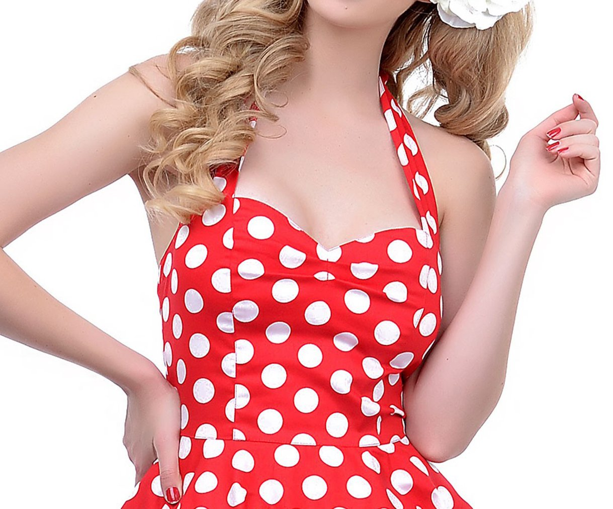 BI.TENCON 1950s Halter Style Vintage Polka Dot Swing Party Dress 3