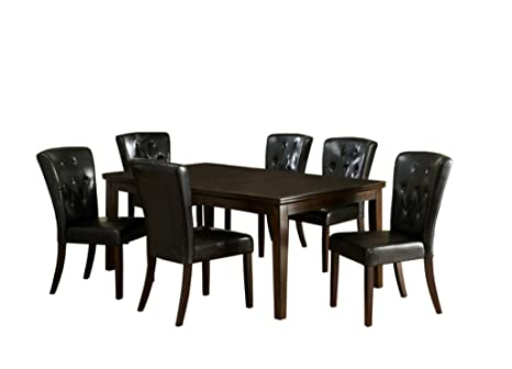 Furniture of America Tirah 7-Piece Dining Table Set with 18-Inch Leaf, Dark Walnut Finish