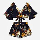Casual Two Piece Set Girl Japanese Ninja Print Summer V Collar Top Shorts Beachwear (L, Black)