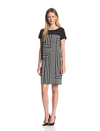 Calvin Klein Women's Print Dress with Studs, Black Neutral Multi, Small