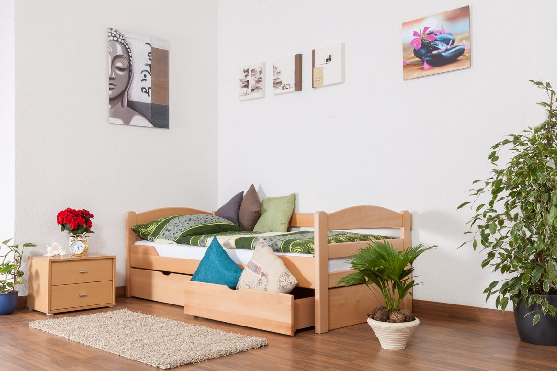 Einzelbett / Funktionsbett Easy Sleep K1/n/s inkl 2 Schubladen und 2 Abdeckblenden, 90 x 200 cm Buche Vollholz Natur  Kundenberichte und weitere Informationen