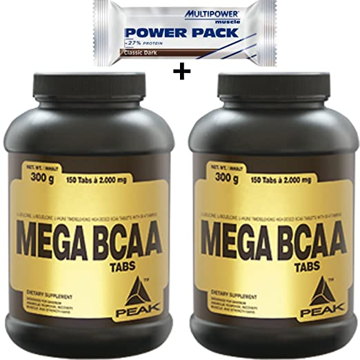 Peak Mega BCAA 300 Kapseln Sonderangebot 2 Dosen + Multipower Riegel 35g