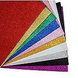 MeCamping A4 Glitter EVA Sponge Paper Foam Sheet Faux Vinyl Leatherette Fabric Sheets 10-Pack for Kids Craft Activities DIY Handmade Bows Art Multicolor Paper (Multicolor - No Adhesive) (Color: Multicolor - No adhesive)