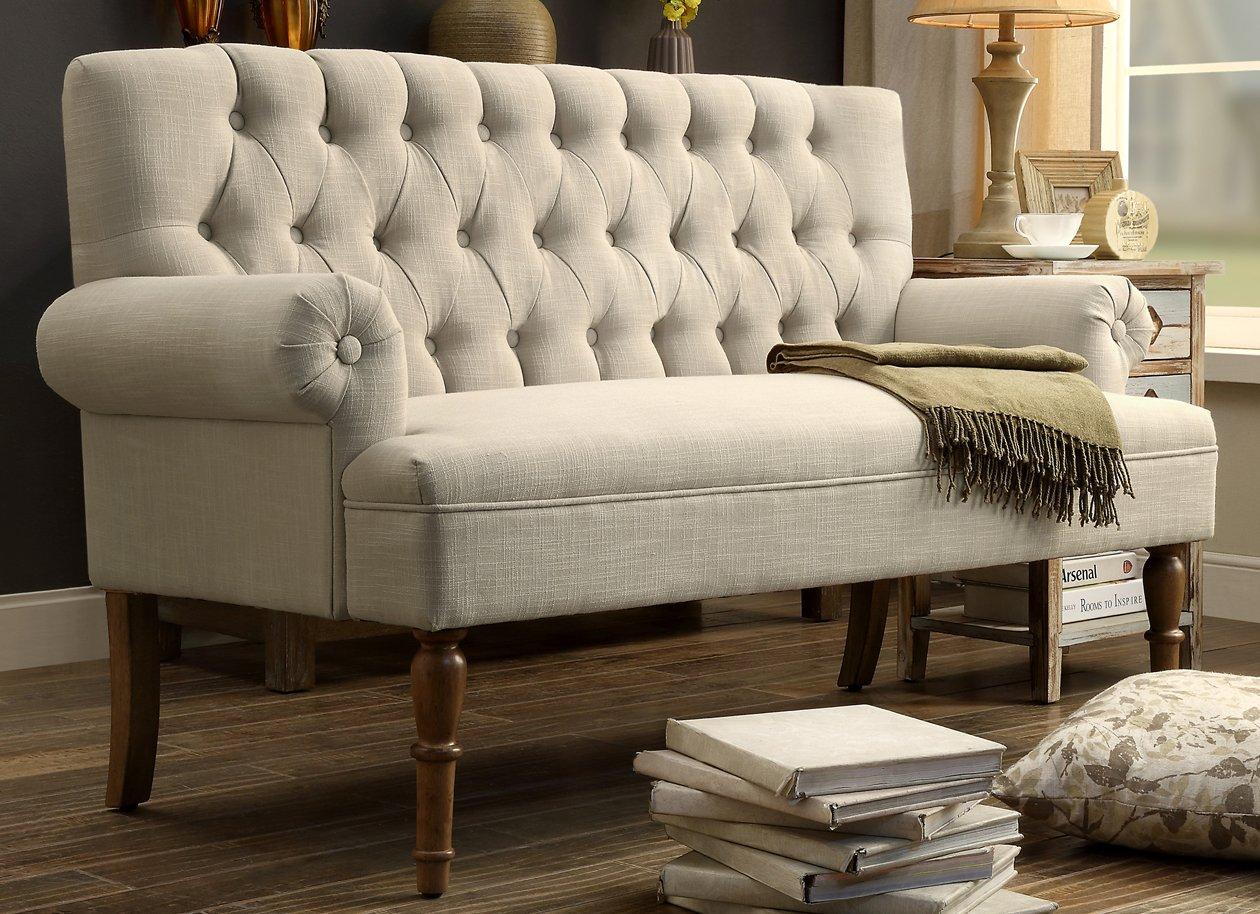 Millbury Home Hermosa Tufted Button Upholstered Loveseat Beige