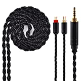 6 Core Silver Plated Earphone Cable, Black Upgrade 2PIN Detachable Earphone Cable Replacement Earphone Wire for KZ ZS10 ZS6 ZS5 ZSR ZST TRN V10 V20 TFZ (2.5mm Audio Jack, 2 Pin) (Color: 2 Pin, Tamaño: 2.5mm Audio Jack)