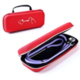 Esimen Carry Case for 3M Littmann Lightweight II S.E. 3M Littmann Classic III 5870 Classic III Stethoscope Travel Bag,Extra Room for Taylor Percussion Reflex Hammer and Reusable LED Penlight (Red)
