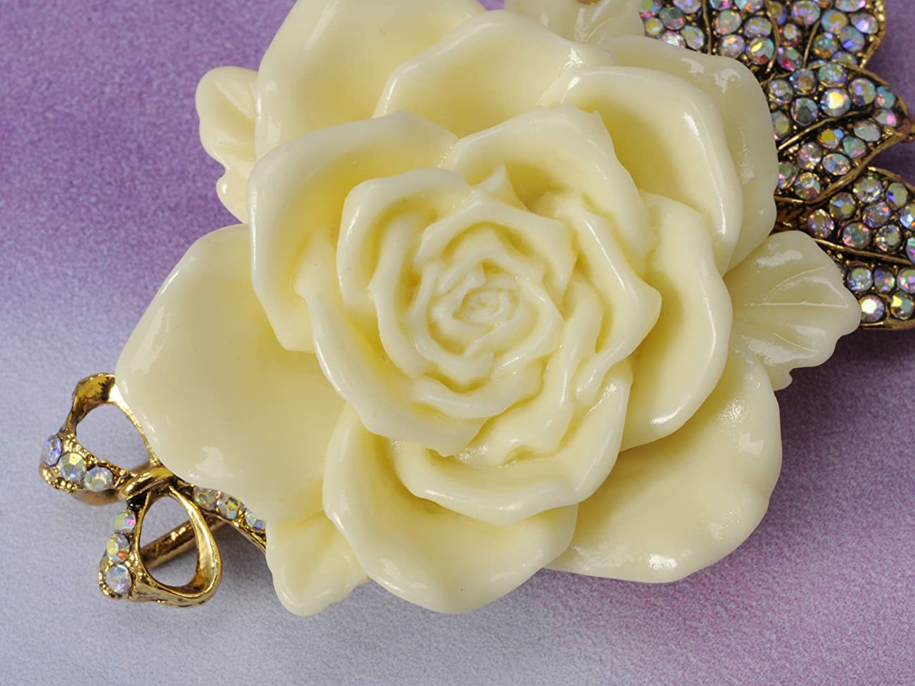 Vintage Inspired Tone Elegant Cream White Resin Enamel Rose Crystal Rhinestone Fashion Jewelry 4