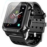 Apple Watch 4 Case Band 44mm 2018, SPIDERCASE 360° Rugged Case with Strap Band, Built-in Screen Protector Full Body Cover Case for Apple Watch Series 4 44mm ONLY, Anti-Scratch, Shockproof and More