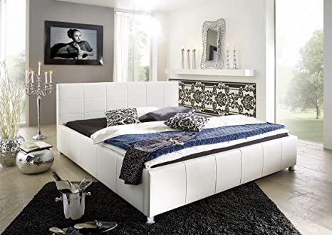 SAM® Polsterbett Bett Kira in Weiß 180 x 200 cm Kopfteil im abgesteppten modernen Design chromfarbene Fuße Wasserbett geeignet teilzerlegt Auslieferung durch Spedition