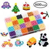 KACAGA Water Fuse Beads Kit 24 Colors 3600 Beads, Refill kit Compatible Beados Magic Water Sticky Beads Art Crafts Toys for Kids Beginners (3600+ Beads Complete Set) (Color: 3600 Pcs)