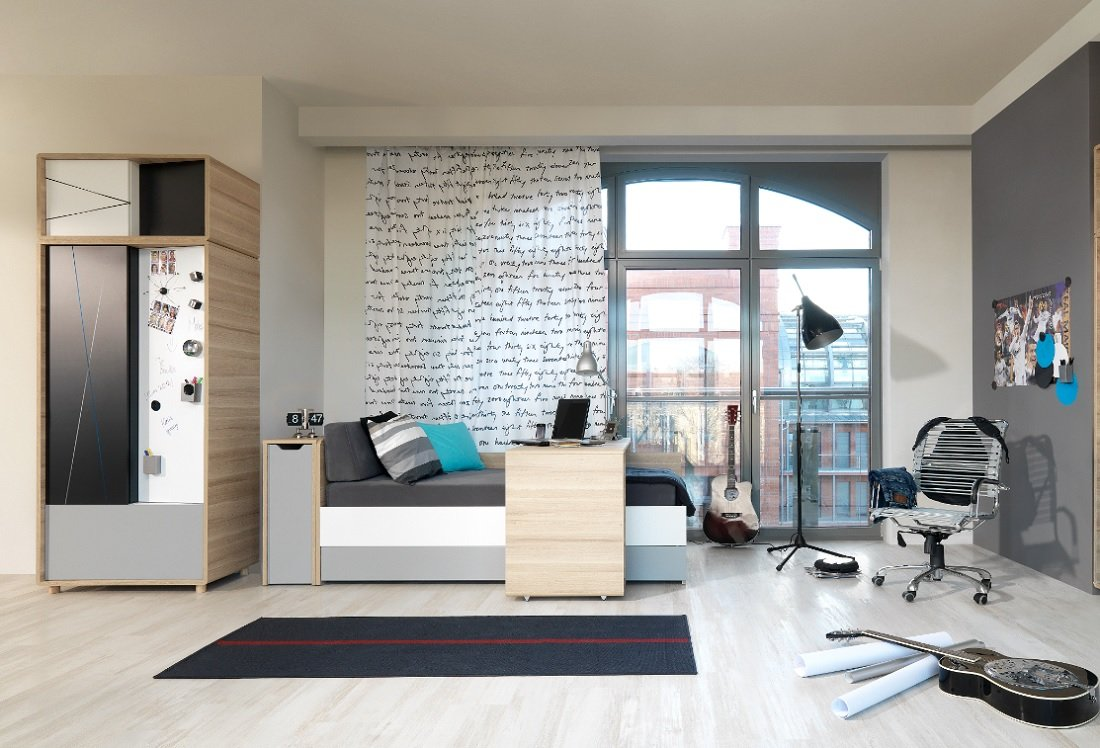 Jugendzimmmer Kinderzimmer 3-Colors Jugendmöbel Set 4-tlg. komplett Schrank 2-türig, Bett 200×90, Schreibtisch, Wandregal NEU online bestellen