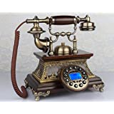 Two-Stand telephone antique, European Retro / solid wood / New / skin / Old telephone Lounge aircraft 27x22x26cm mobile phone ( Color:# 1 )