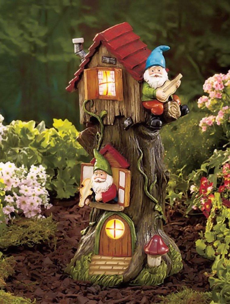 Solar powered gnome tree house light garden statue lawn yard decor outdoor home ebay - Garden solar decorations ...