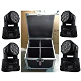 Eshine 4pcs/Lot With Flight Case For 4 Lights LED Mini Wash Moving Head Light 7x12w rgbw 4in1 stage Lighting For Wedding Christmas Birthday DJ Disco KTV Bar Event Party Show (Color: 4PC With Flight Case 7x12w)