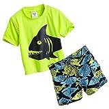 Carter's 2pc Rash Guard Swim Set (12 Months, Yellow/Fish)