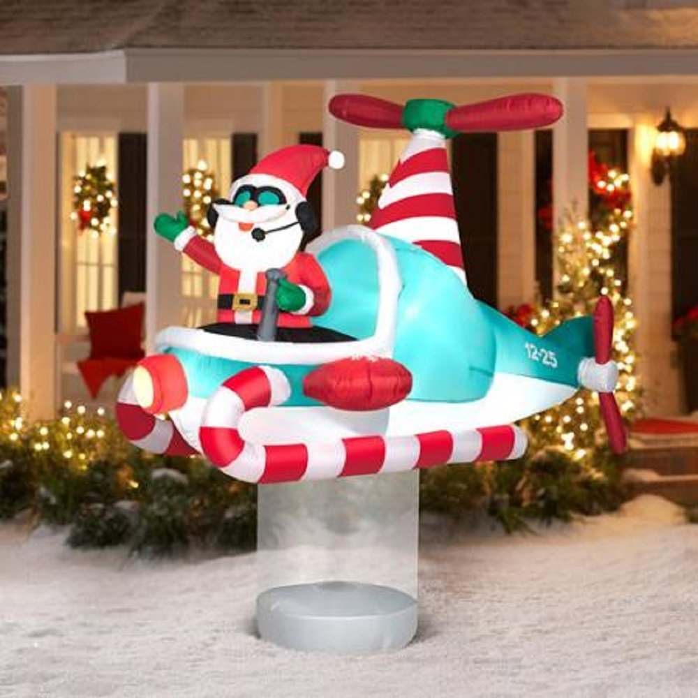 Santa helicopter outdoor inflatables christmas wikii for Animated christmas decoration