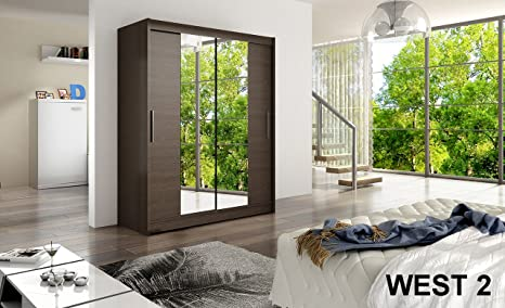 WARDROBE WEST 2 CHOCO 150 cm wide 2 sliding doors many colours