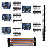 5PCS GY-521 MPU-6050 Accelerometer Gyro Sensor 6DOF Three-Axis IMU for Arduino Quadcopter Drone RC, 3-5V I2C Compass 40P Female to Male Dupont Cable, 40P Male Pin Header