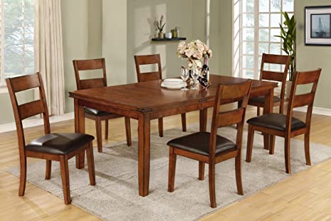 Poundex F2191 & F1231 Oak Table & Black Vinyl Chairs Dining Set