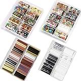 BlueZOO 40PCS Nail Art Foil Transfer Paper Set Christmas Elements Stickers Pack Different Colored Nails Decals Wraps Kit DIY Decorations Accessories