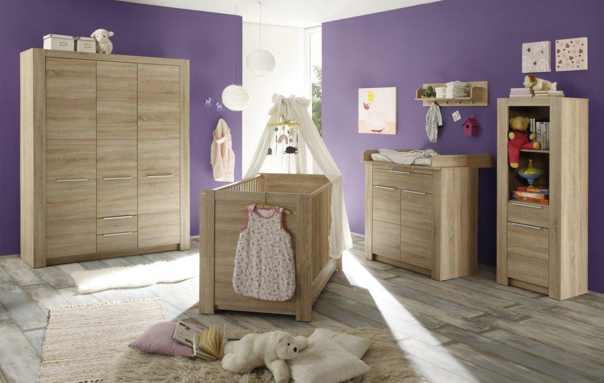 Dreams4Home Babyzimmer Set 'Stine III', Babyzimmerkombination,Babyzimmer komplett,Babybett,Wickelkommode,Kleiderschrank,Eiche Sägerau hell