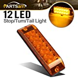 Partsam Amber/Yellow 12 LED Stop Turn Signal Tail Light Surface Mount 2 Function Sealed 8