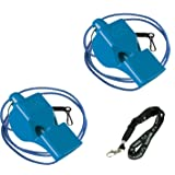 Fox 40 Classic Loud Pealess Official Referee, Sports Coach, Lifeguard Whistle + Breakaway Lanyards | 2pk Bundle + Koala Lanyard, Blue (Color: Blue, Tamaño: 2 Pack)