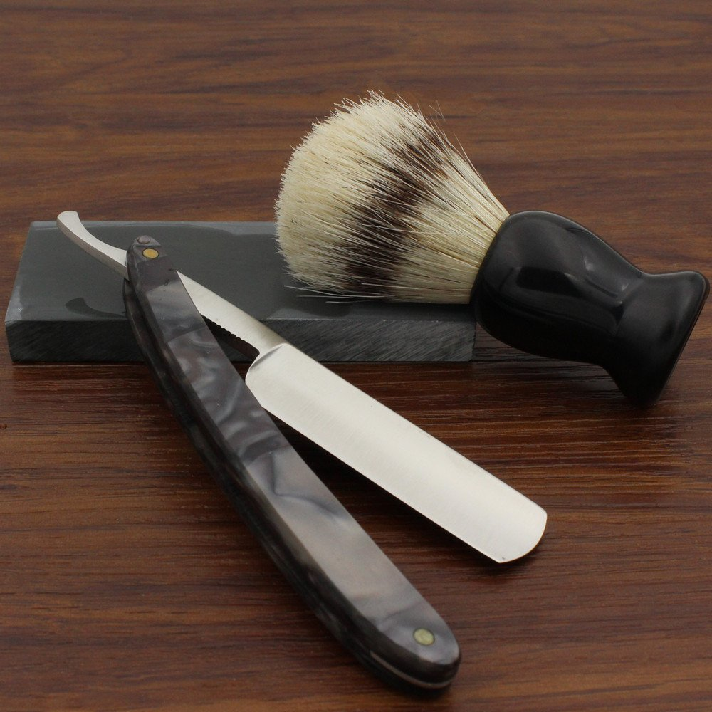 Vintage Design Barber Cut Throat Black Gray Acrylic Handle Straight Razor Widen Stainless Steel Blade Bristle Brush Natural Water Hone Sharpen Stone Sharpener Gift Set Manual Wet Shaving Kit 1