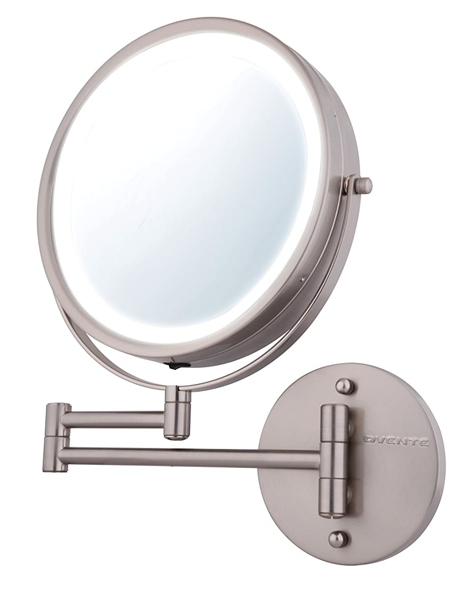 Ovente Wall Mount Makeup Mirror Battery Operated Led Lighted 1x