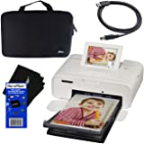 Canon SELPHY CP1300 Wireless Compact Photo Printer (White) + Xtech Custom Hard Compact Case + USB Printer Cable + HeroFiber Cleaning Cloth (Color: black)