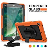 iPad 6th Generation Case Kids, New iPad 9.7 Inch 2018/2017 Case, SMAPP[Full-body] [Shock Proof] Hybrid Armor Protective Case with 360 Rotating Stand&Strap for iPad 5th/6th/Air 2/Pro 9.7 (Orange+Black) (Color: Orange+Black)
