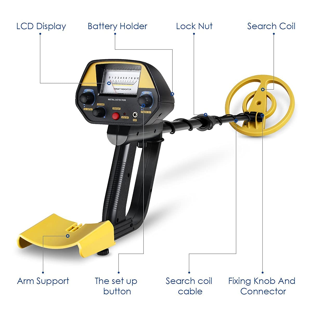 INTEY Classic Metal Detector - Lightweight Gold Digger with Pinpoint Function/ Waterproof Search Coil -High Accuracy Metal Detectors Plus Folding Shovel/Rucksack (Min length: 30In; Max length: 40In)