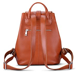 edafcd8dc2cf New vintage Women Real Genuine Leather Backpack Purse SchoolBag by Coolcy  (Brown) (Color  Brown