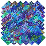 Kaffe Fassett Collective PLUM BLUE BEAUTIES Precut 5-inch Cotton Fabric Quilting Squares Charm Pack Assortment Westminster Fibers
