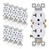 AIDA 20 Amp, 125V, 2-Pole,3-Wire Duplex Receptacle Self-grounding Wall Outlet, Residential Grade, UL Listed, Side Wired 10 Pack White 030551 (Color: White)