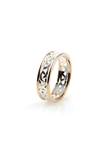 Sterling Silver Celtic Open Love Knot Design with 10K Yellow Gold Rims - Size N