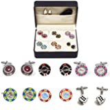 MRCUFF Casino Chips Poker Roulette Blackjack Craps 6 Pairs Cufflinks in a Presentation Gift Box, Collar Tabs & Polishing Cloth (Color: multi color)