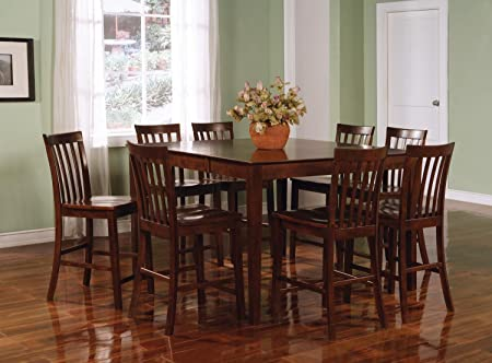 9pcs Contemporary Walnut Counter Height Dining Table & 8 Stools Set