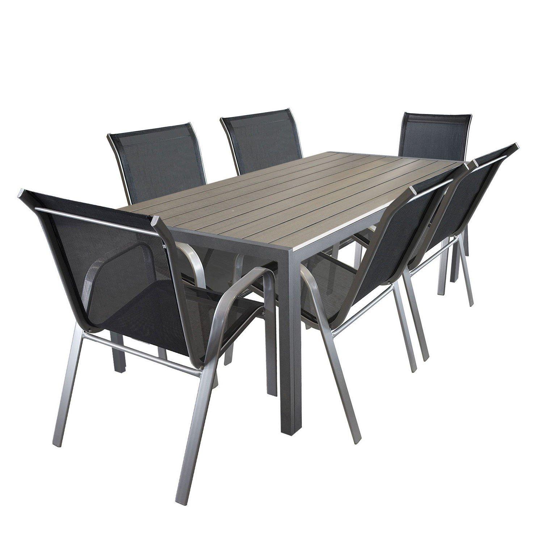 7tlg. Gartengarnitur Aluminium Gartentisch mit Polywood-Tischplatte 205x90cm Gartenstuhl Gartensessel Stapelstuhl pulverbeschichtet mit Textilenbespannung Terrassenmöbel Gartengarnitur Sitzgruppe