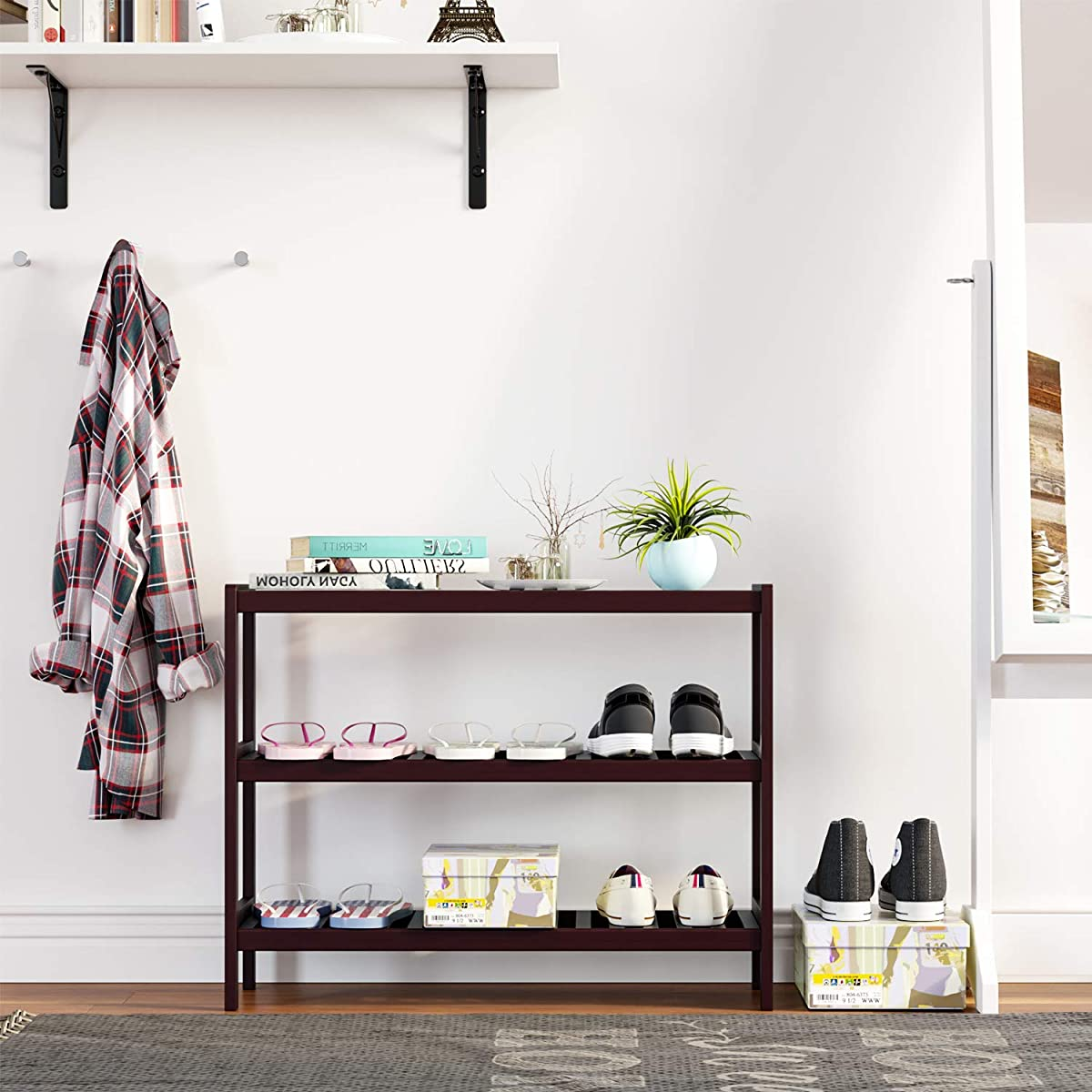 Homfa Shoe Rack 3-Tier Bamboo Wood Storage Shelf for Entryway Bathroom Balcony for Boots Heels Plants and Books Free Standing Organizer Retro Color
