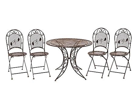 Garten Garnitur Tisch + 4 Stuhle Eisen Gartenmöbel Nostalgie antik Stil braun