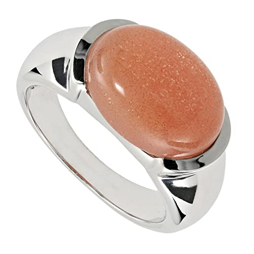 La Luna Design Fashion Ladies Rhodium Plated 925 Sterling Silver Sun Ring Orange