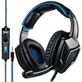[2018 Newest Updately] Sades SA920 Wired Stereo Gaming Headset Over Ear Headphones with Microphone for New Xbox One / PS4 / PC /Cell phones- Black/blue (Color: Black)