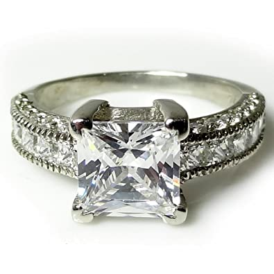 Exquisite Jewels 14ct White Gold 2.1ct CZ diamond engagement ring TG08